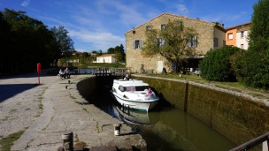 Lock with boat in Canal du Midi